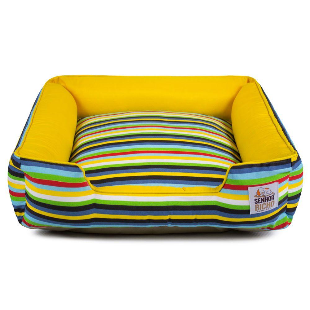 Cama de Cachorro com Zíper Pandora - M - Listras Amarelo