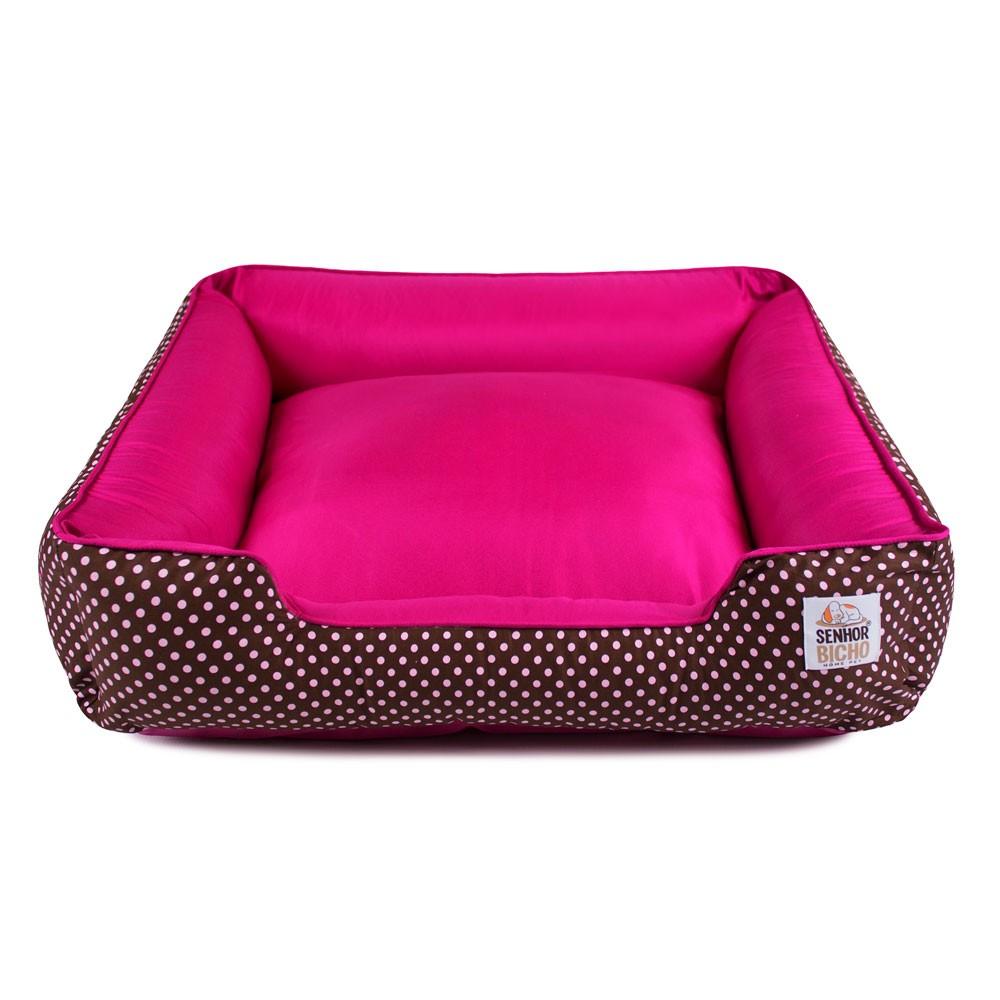 Cama de Cachorro com Zíper Pandora - M - Marrom Poá com Pink