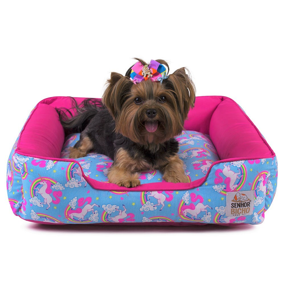 Cama de Cachorro com Zíper Pandora - M - Unicórnio Azul Pink