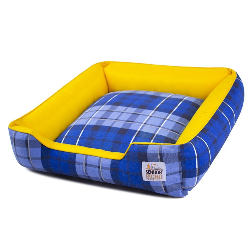Cama de Cachorro com Zíper Pandora - M - Xadrez Azul com Amarelo