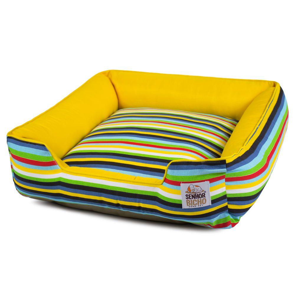 Cama de Cachorro com Zíper Pandora - P - Listras Amarelo