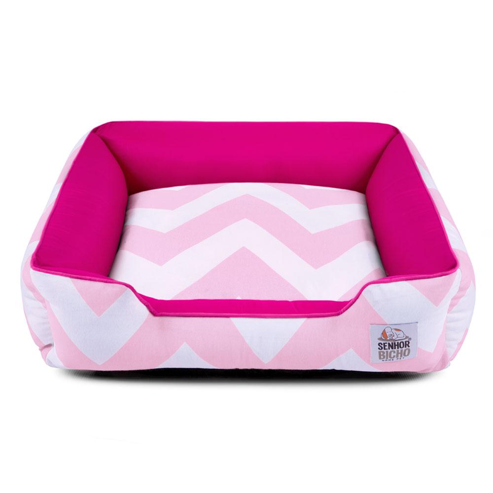 Cama de Cachorro com Zíper Pandora - P - Chevron Rosa Pink