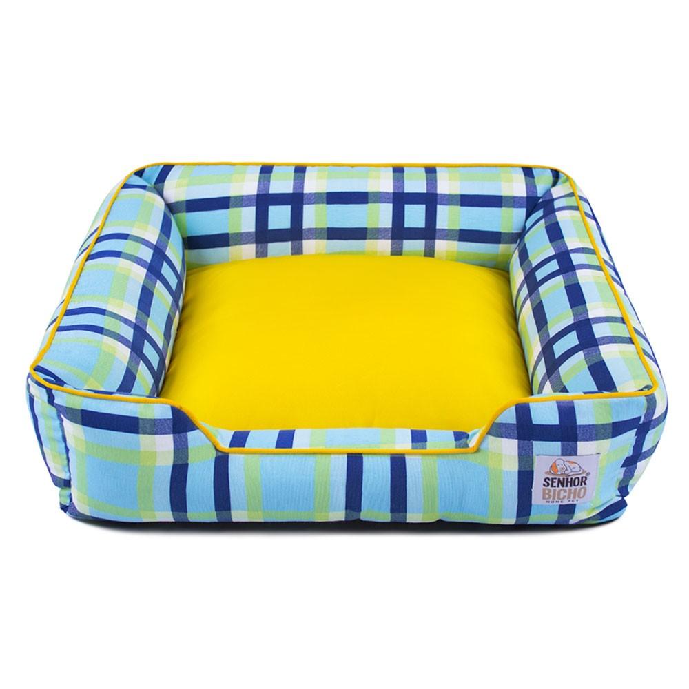 Cama de Cachorro com Zíper Pandora - P - Xadrez Com Amarelo