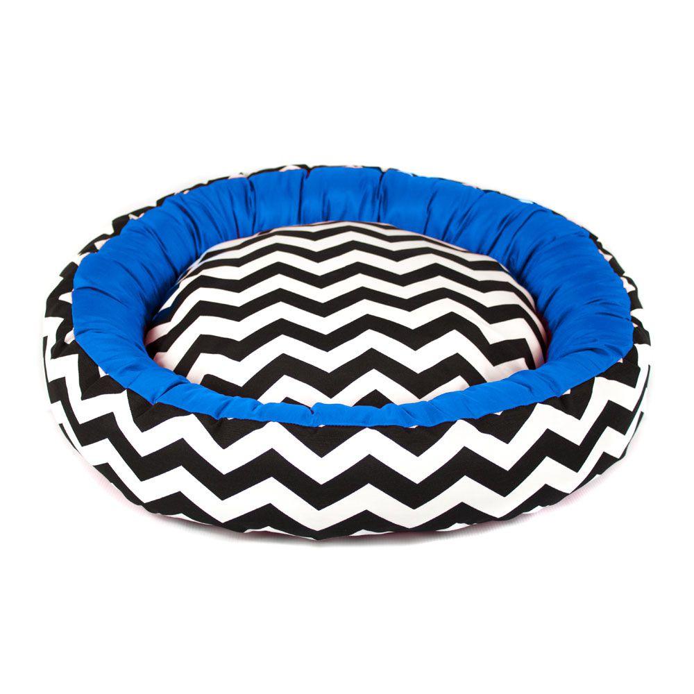 Cama de Cachorro com Zíper Redonda Nani - G - Chevron Azul
