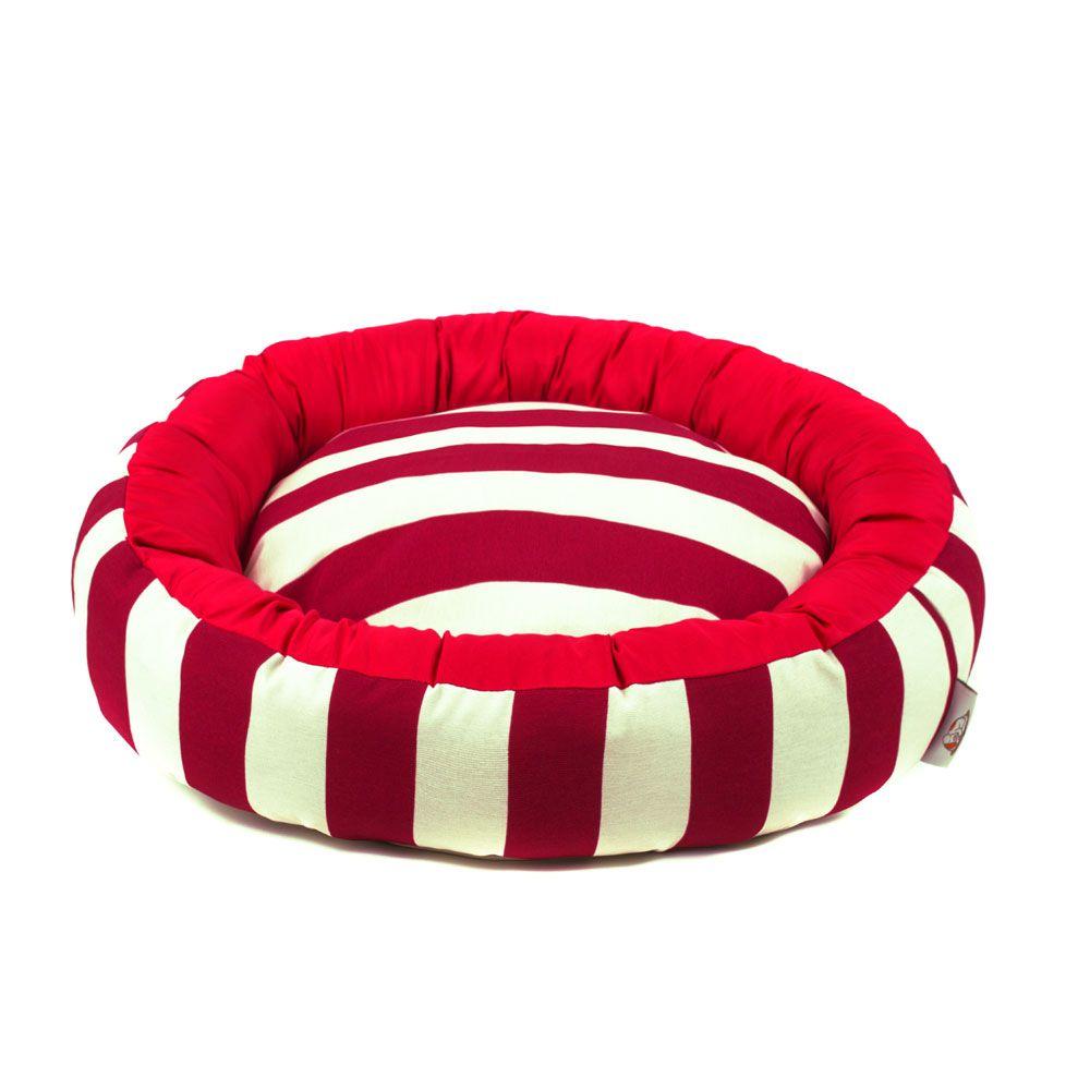 Cama de Cachorro com Zíper Redonda Nani - G - Listras Vermelho
