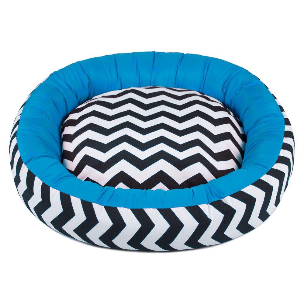 Cama de Cachorro com Zíper Redonda Nani - M - Chevron Azul