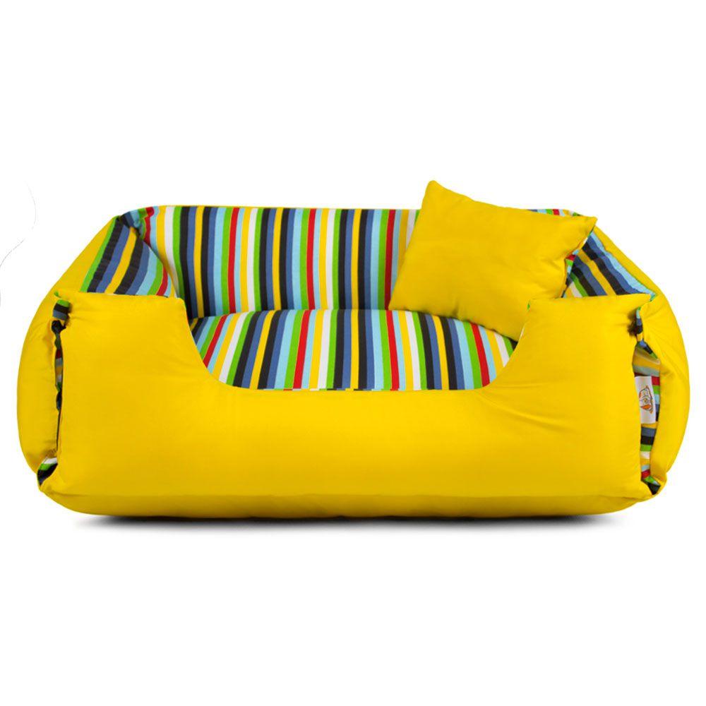 Cama de Cachorro Dupla Face Lola - EGG - Listras Amarelo
