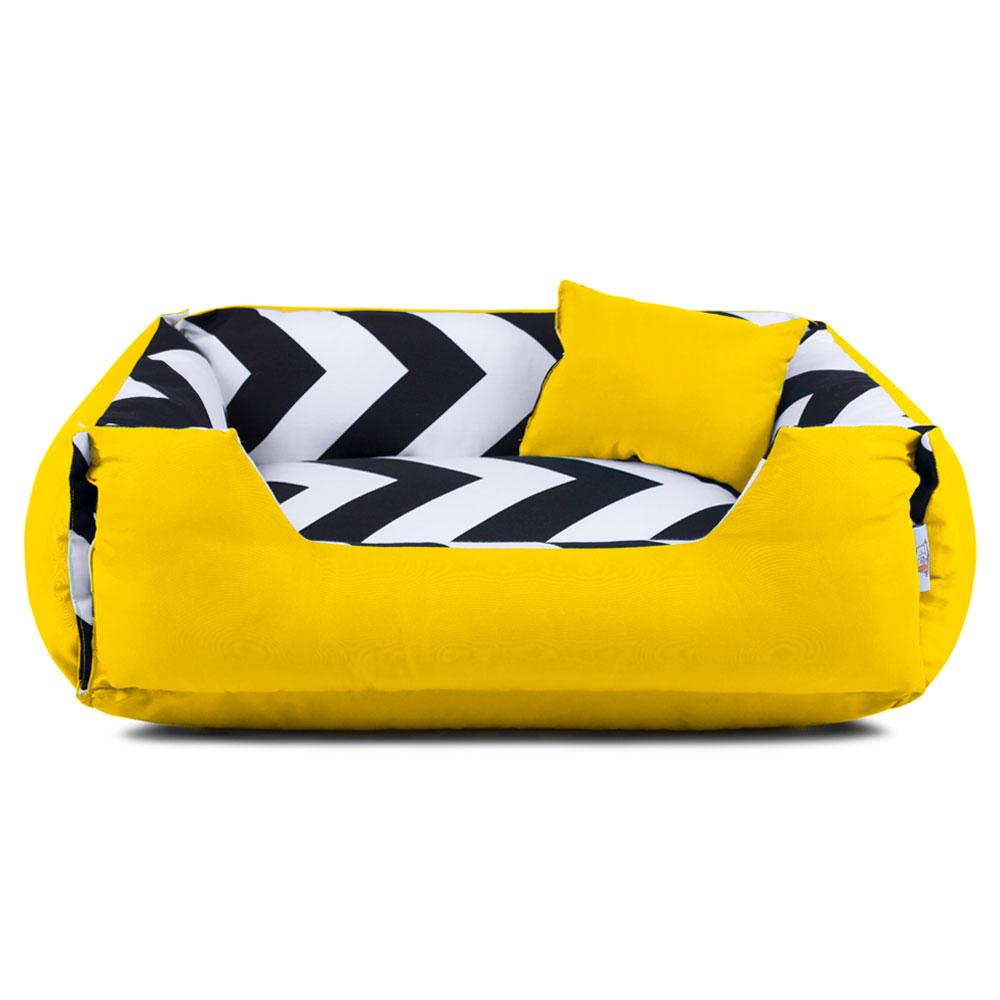 Cama de Cachorro Dupla Face Lola - EGG - ZigZag Amarelo