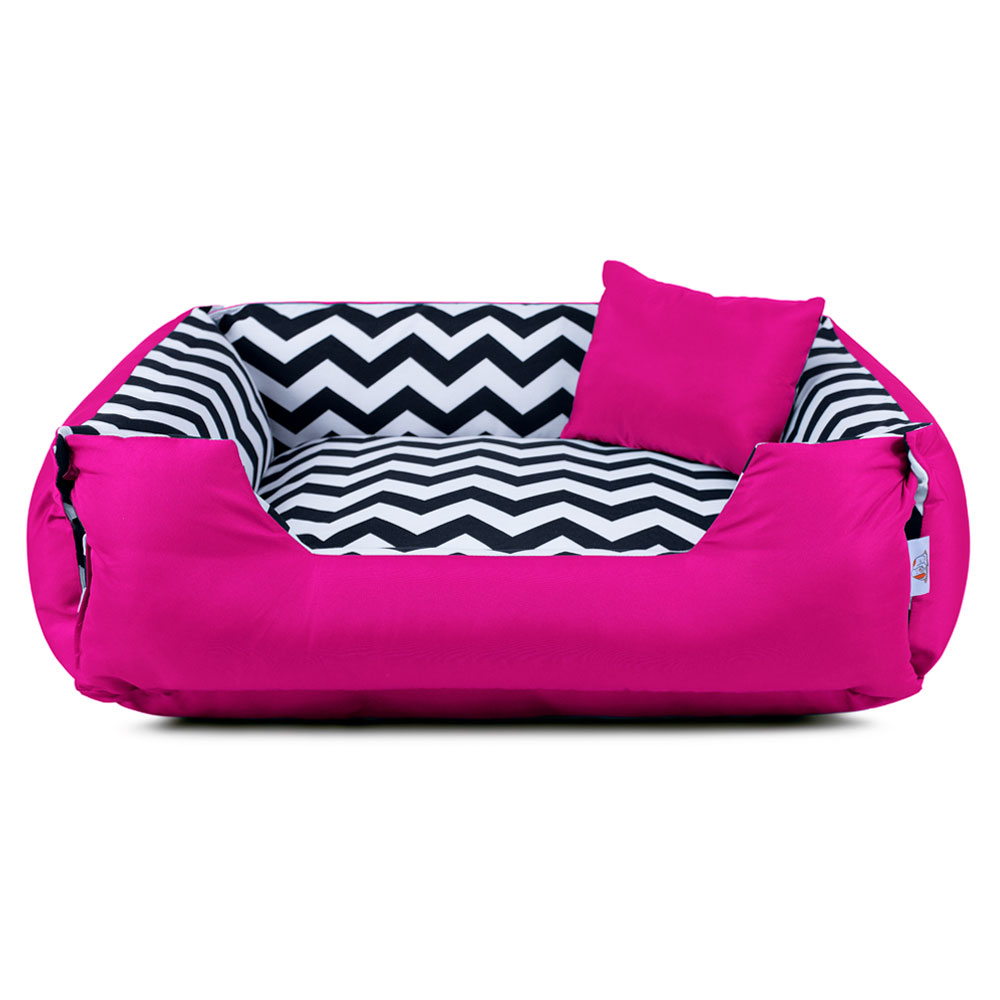 Cama de Cachorro Dupla Face Lola - G - Chevron Pink