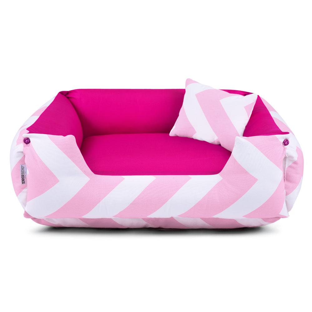 Cama de Cachorro Dupla Face Lola - M - Chevron Rosa Pink