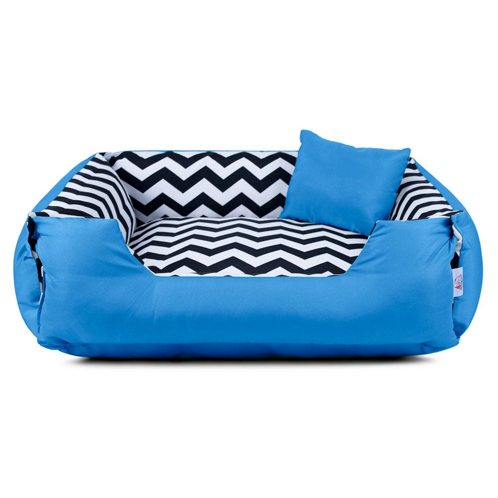 Cama de Cachorro Dupla Face Lola - P - Chevron Azul