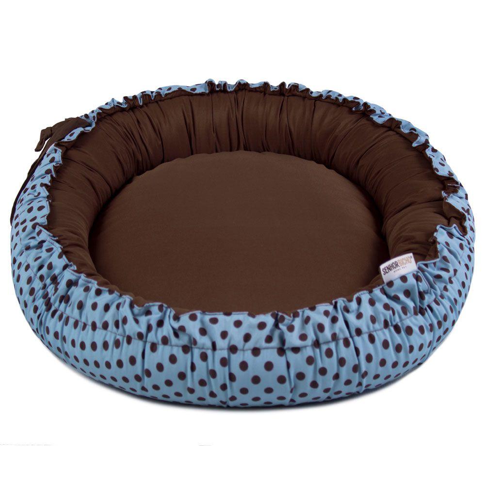 Cama de Cachorro Dupla Face Redonda Poly - Azul Poá Marrom