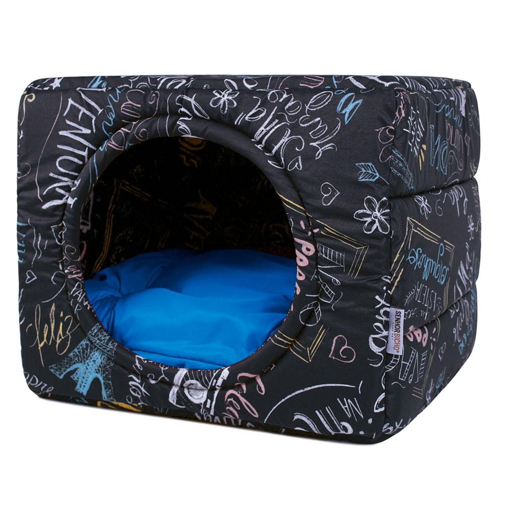 Cama de Cachorro Gato Toca Iglu Premium - G - Lousa Azul