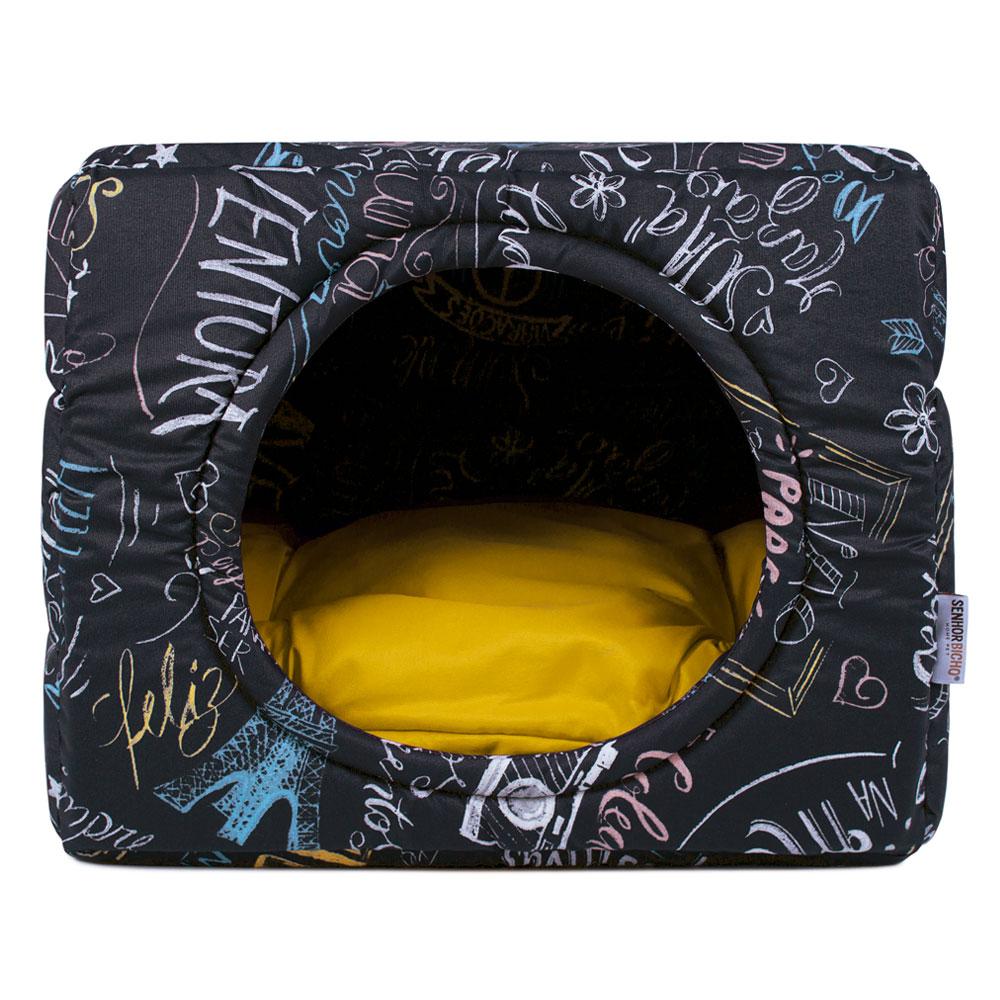 Cama de Cachorro Gato Toca Iglu Premium - M - Lousa Amarelo