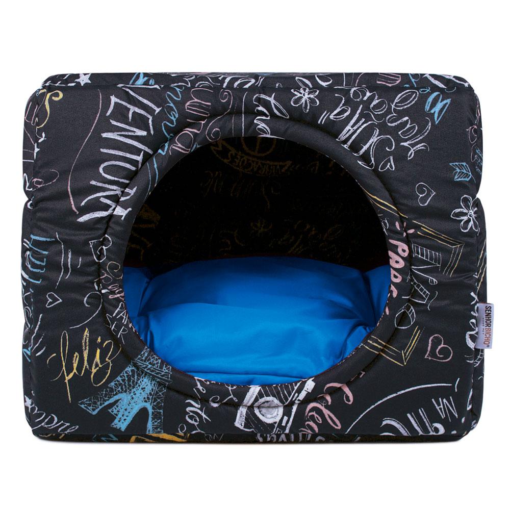 Cama de Cachorro Gato Toca Iglu Premium - M - Lousa Azul