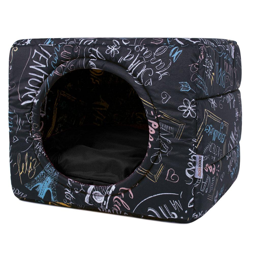Cama de Cachorro Gato Toca Iglu Premium - M - Lousa Preto