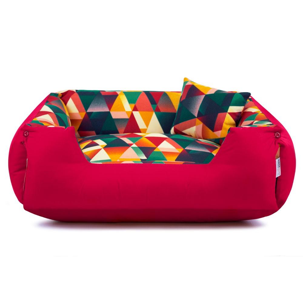 Cama de Cachorro Impermeável Lola - M - Geometric Vermelho