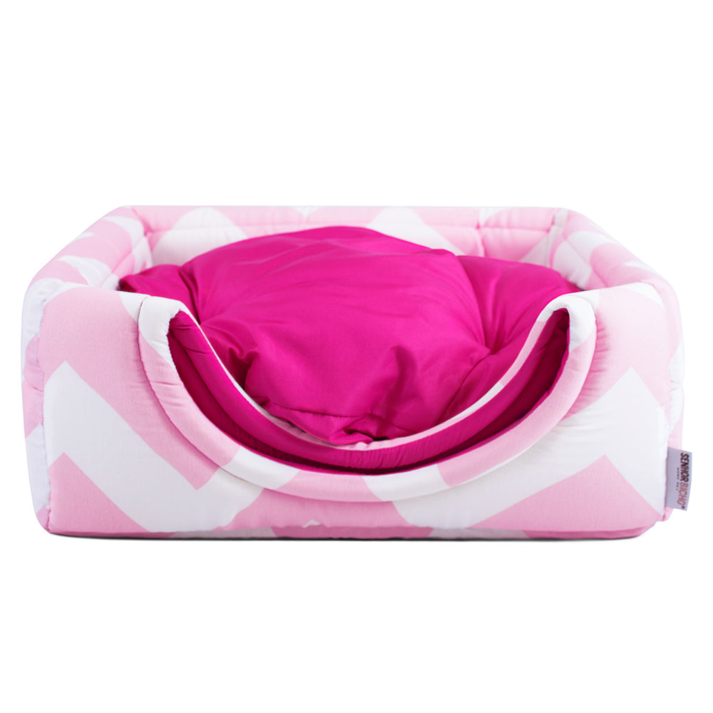 PRONTA ENTREGA! Cama de Gato Toca Iglu - M - Chevron Rosa com Pink + BRINDE