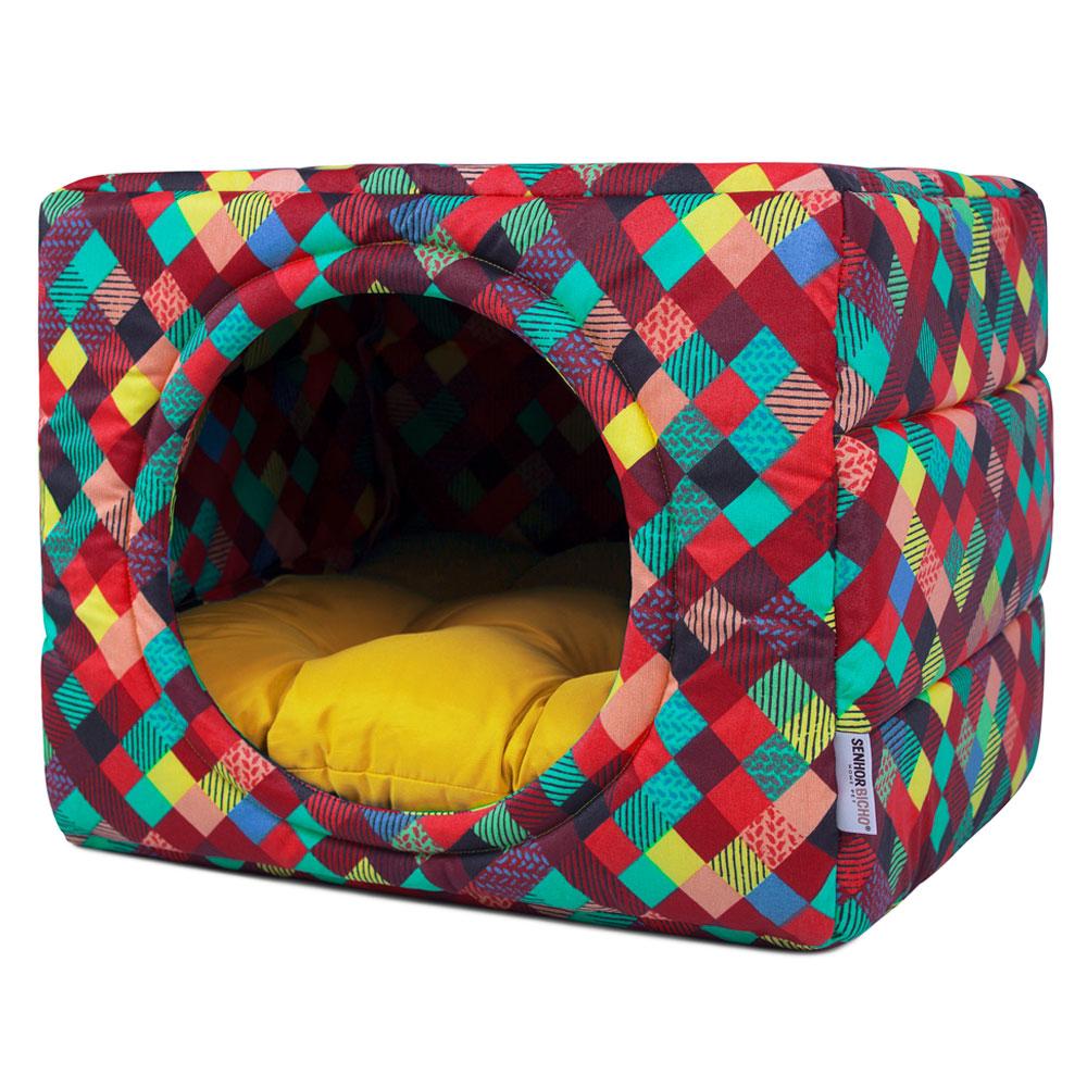 Cama de Cachorro Gato Toca Iglu Premium Colors Amarelo