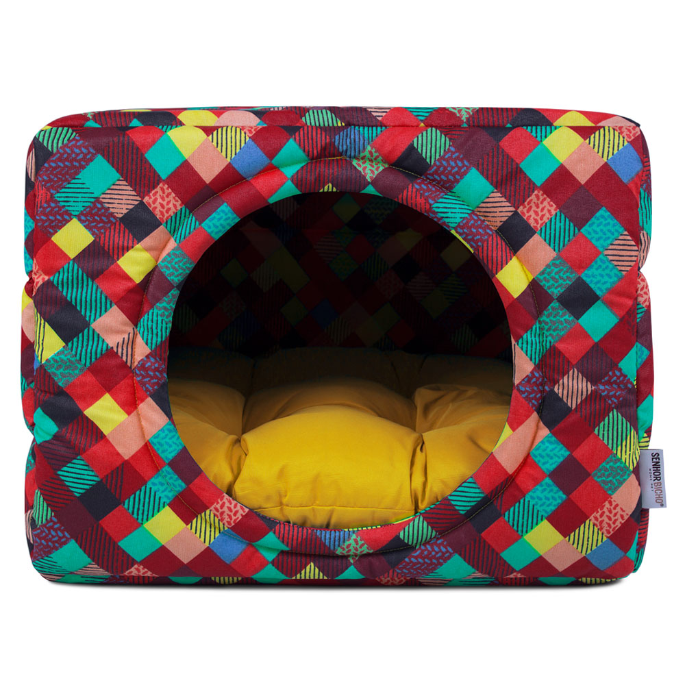Cama de Cachorro Gato Toca Iglu Premium - G - Colors Amarelo