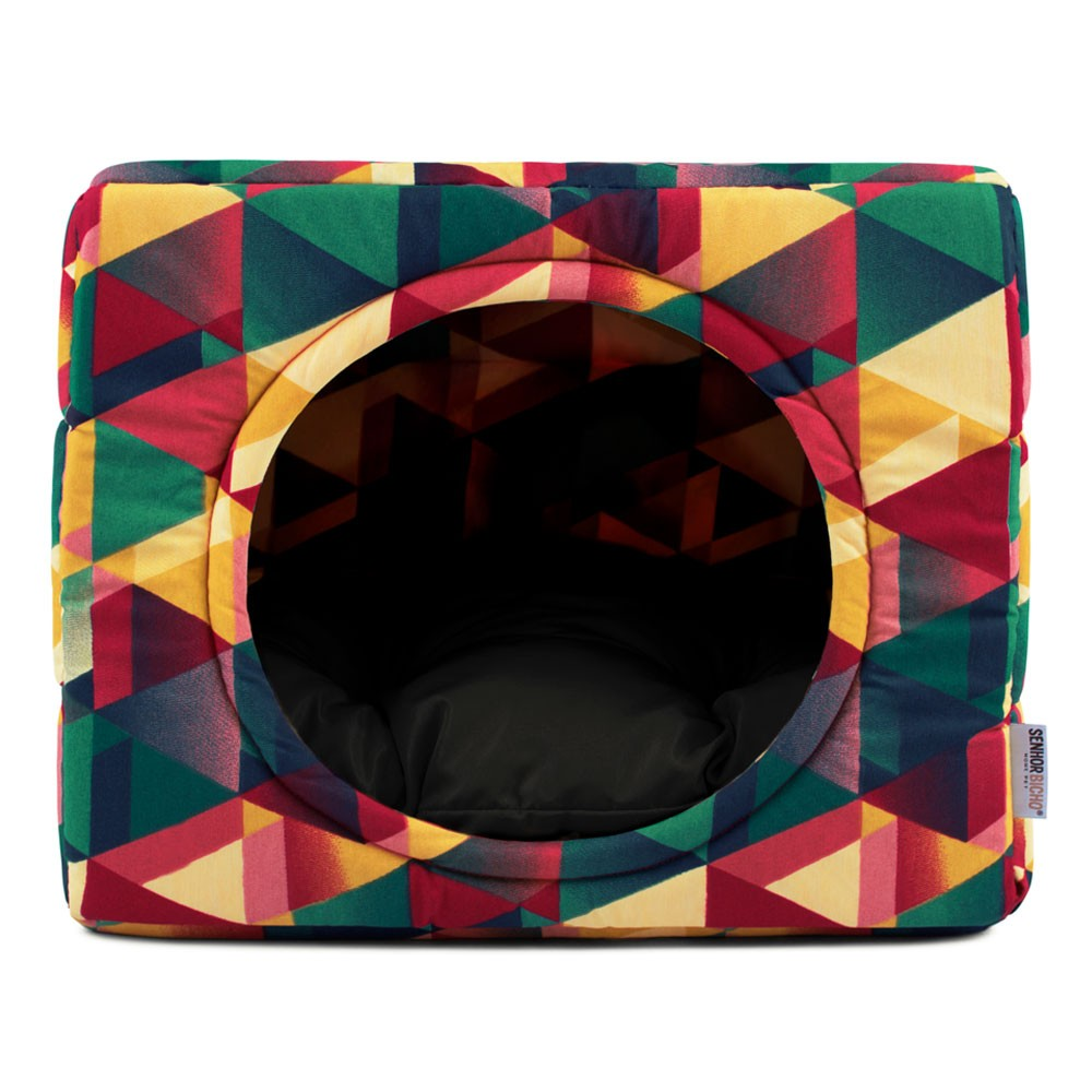 Cama de Cachorro Gato Toca Iglu Premium - G - Geometric Preto
