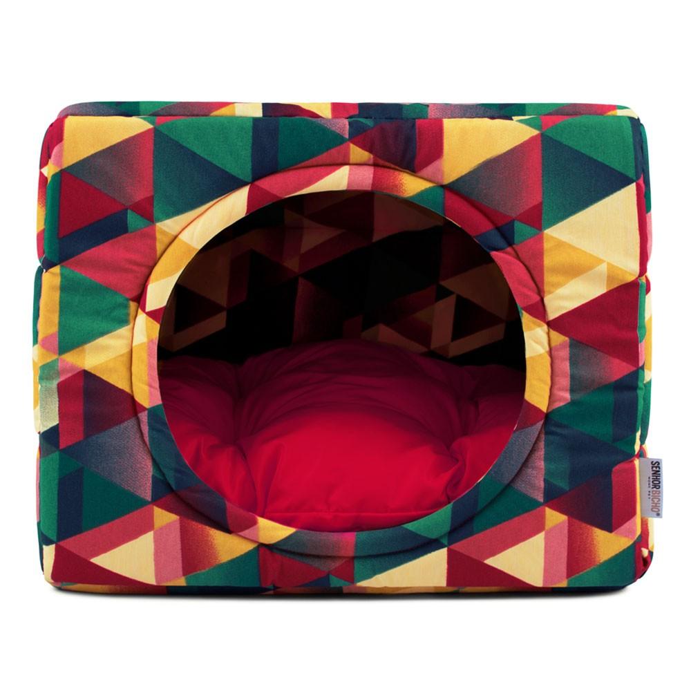 Cama de Cachorro Gato Toca Iglu Premium - G - Geometric Vermelho