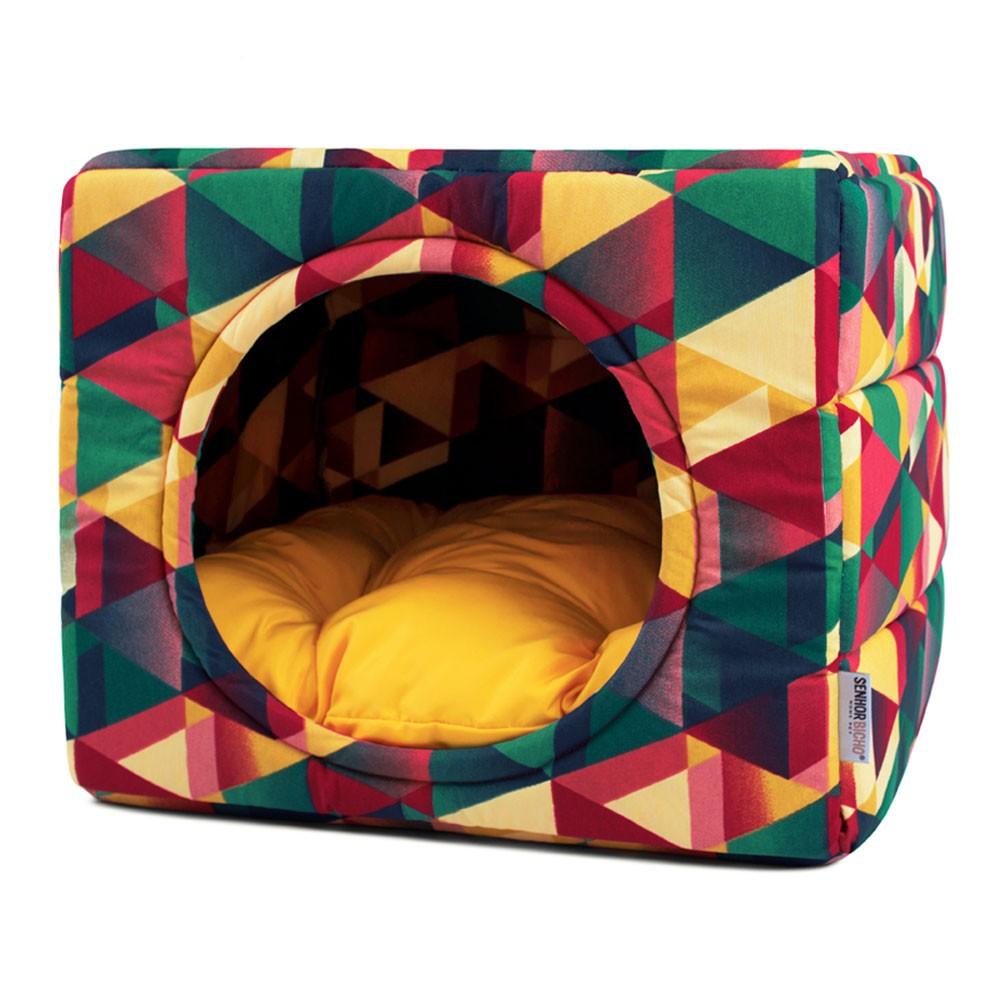 Cama de Cachorro Gato Toca Iglu Premium - M - Geometric Amarelo