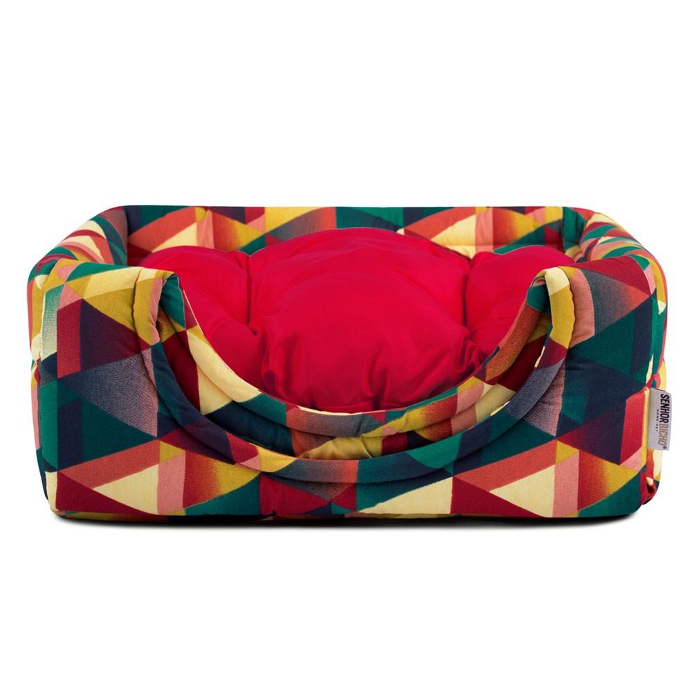Cama de Gato Toca Iglu Premium - M - Geometric Vermelho