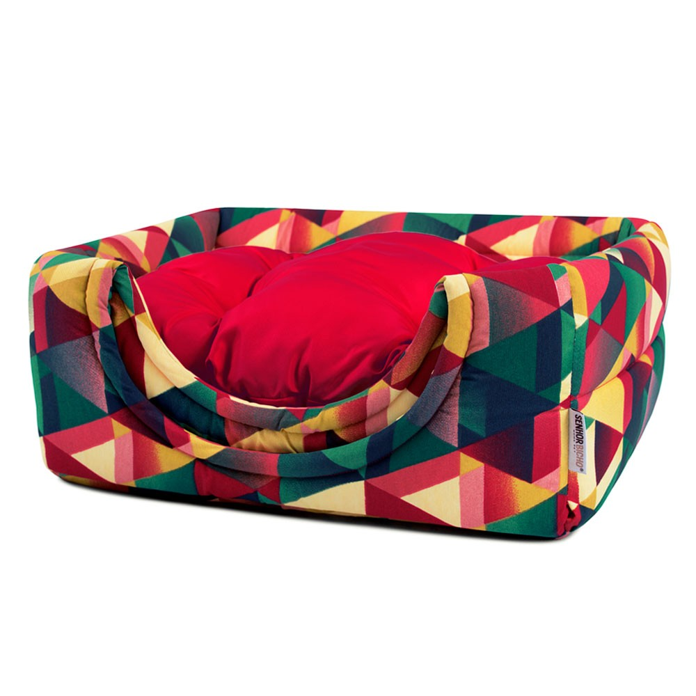 Cama de Cachorro Gato Toca Iglu Premium - M - Geometric Vermelho