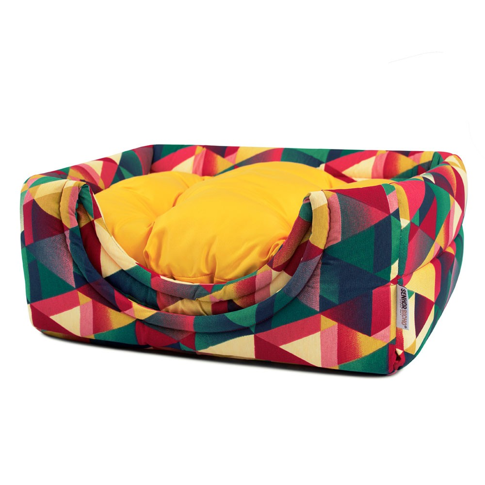 Cama de Gato Toca Iglu Premium - P - Geometric Amarelo