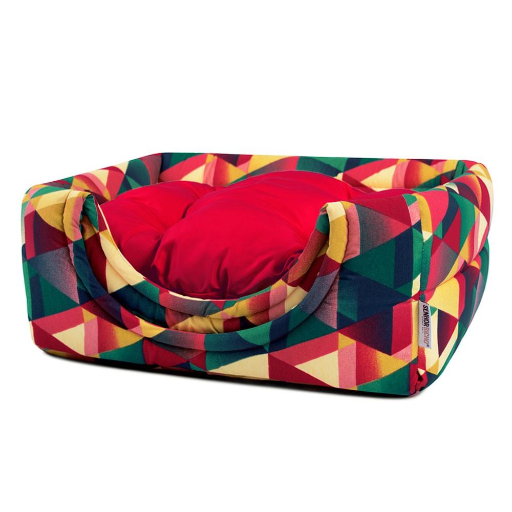 Cama de Gato Toca Iglu Premium - P - Geometric Vermelho