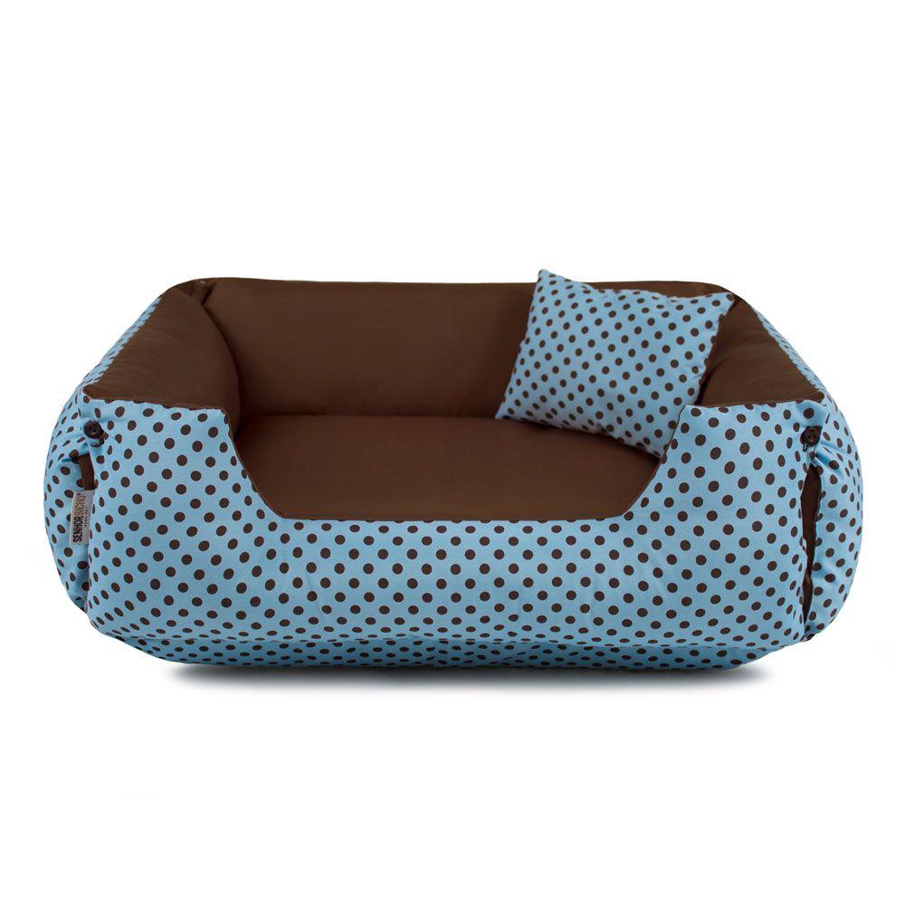 Cama de Cachorro Dupla Face Lola - EGG - Azul Poá Marrom