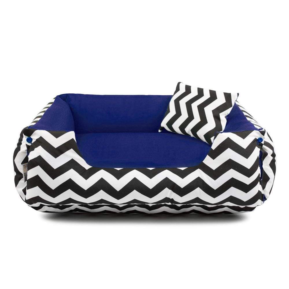 Cama Pet Cachorro Gato Dupla Face Lola - EGG - Chevron Navy