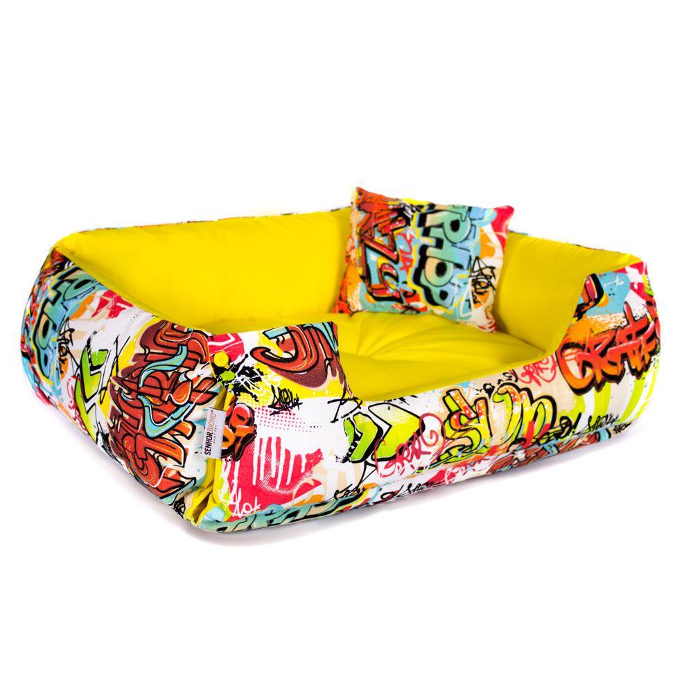 Cama de Cachorro Dupla Face Lola - G - Graffiti Amarelo