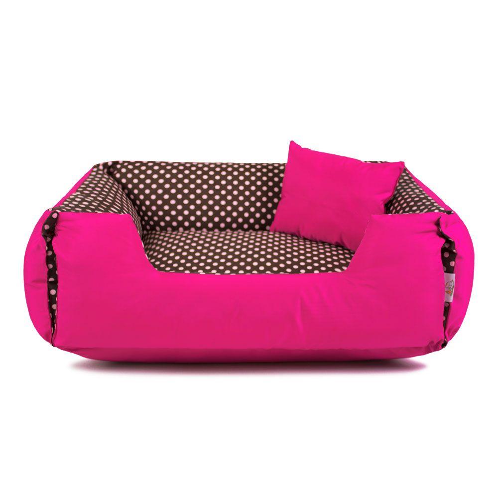 Cama de Cachorro Dupla Face Lola - G - Marrom Poá Pink
