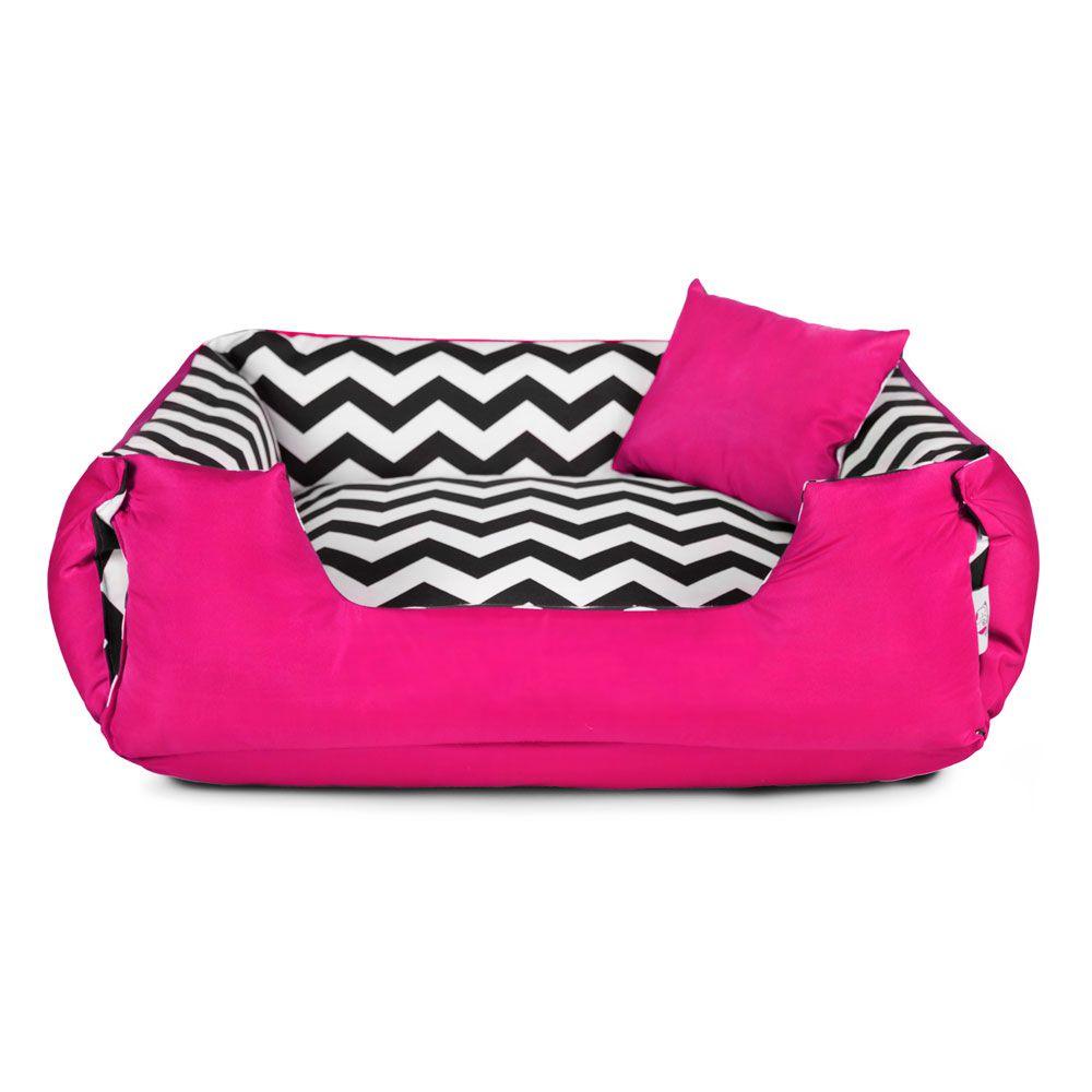 Cama de Cachorro Dupla Face Lola - GG - Chevron Pink