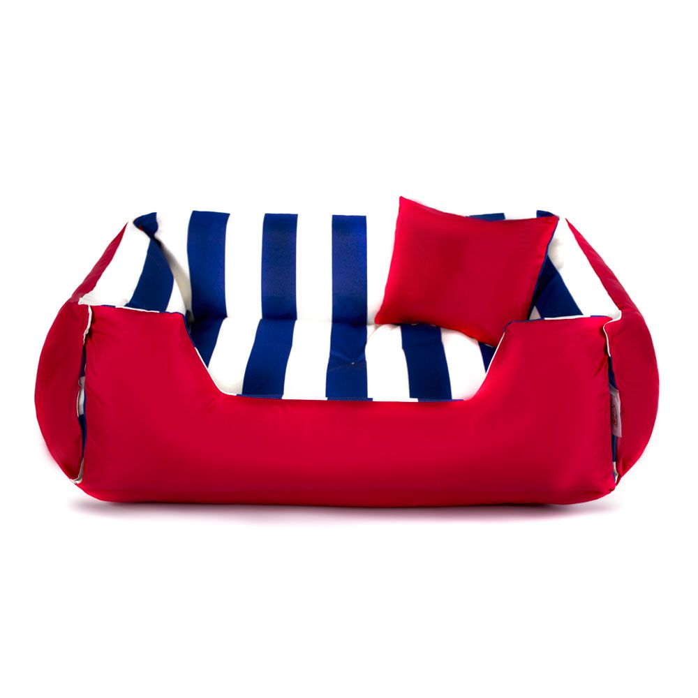Cama de Cachorro Dupla Face Lola - GG - Listras Azul Vermelho