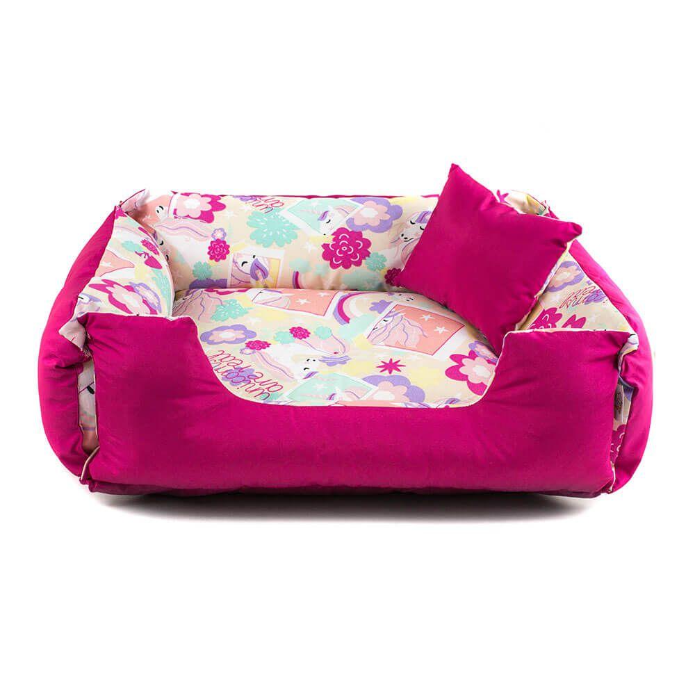 Cama de Cachorro Dupla Face Lola - M - Unicórnio Pink