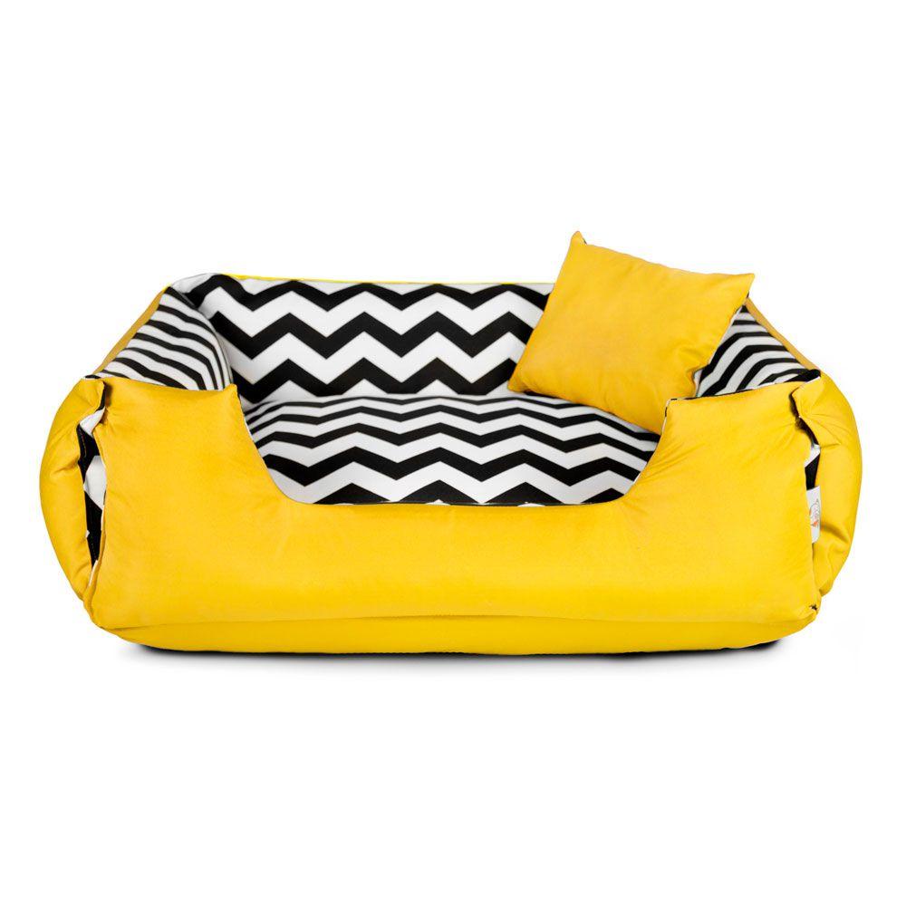 Cama de Cachorro Dupla Face Lola - P - Chevron Amarelo