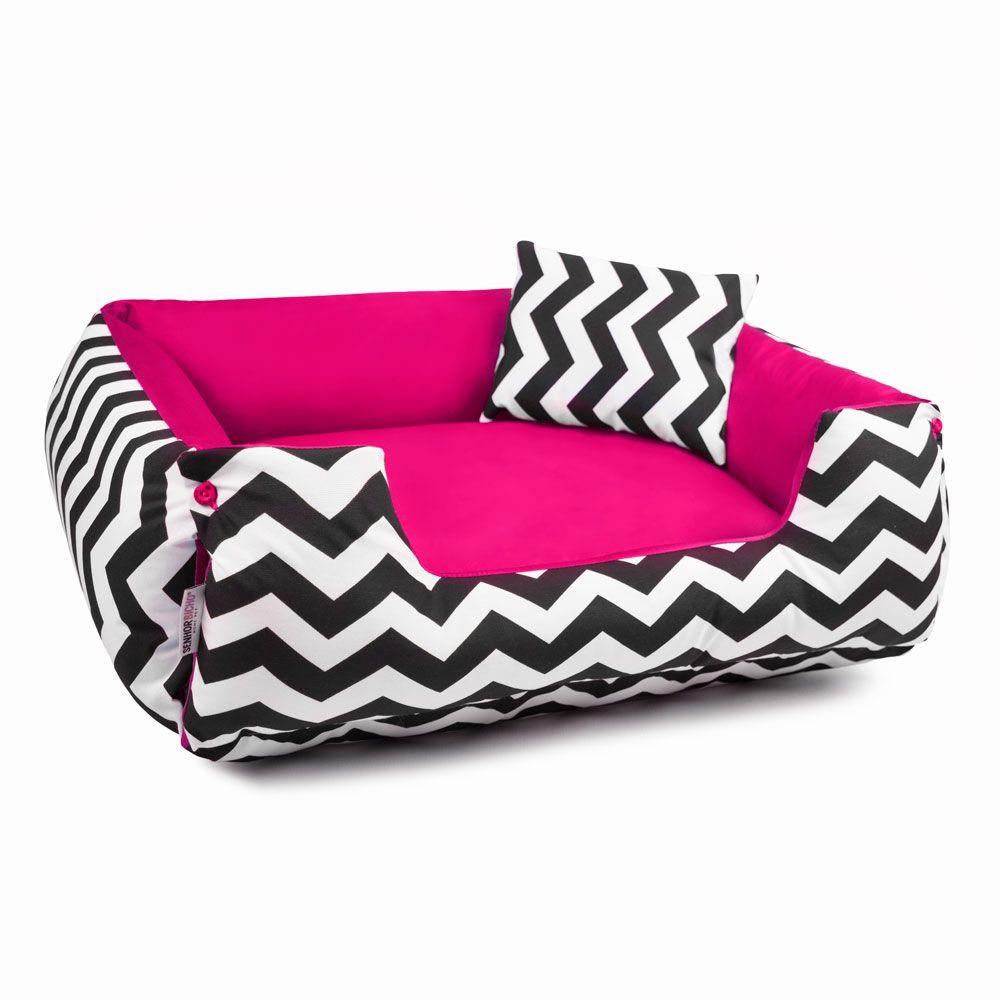 Cama de Cachorro Dupla Face Lola - P - Chevron Pink