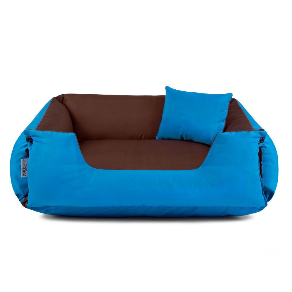Cama de Cachorro Dupla Face Lola - P - Marrom Azul