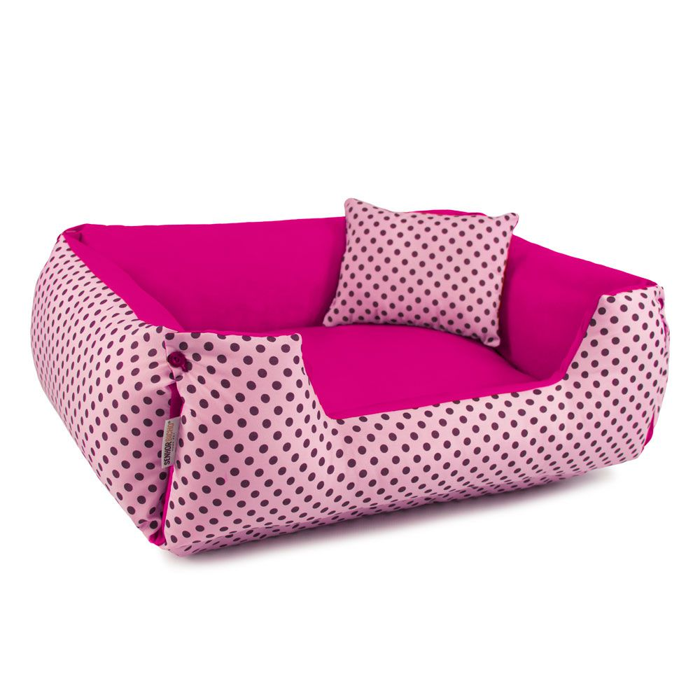 Cama de Cachorro Dupla Face Lola - P - Rosa Poá Pink