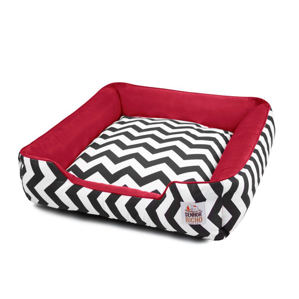 Cama de Cachorro com Zíper Pandora - GG - Chevron Vermelho