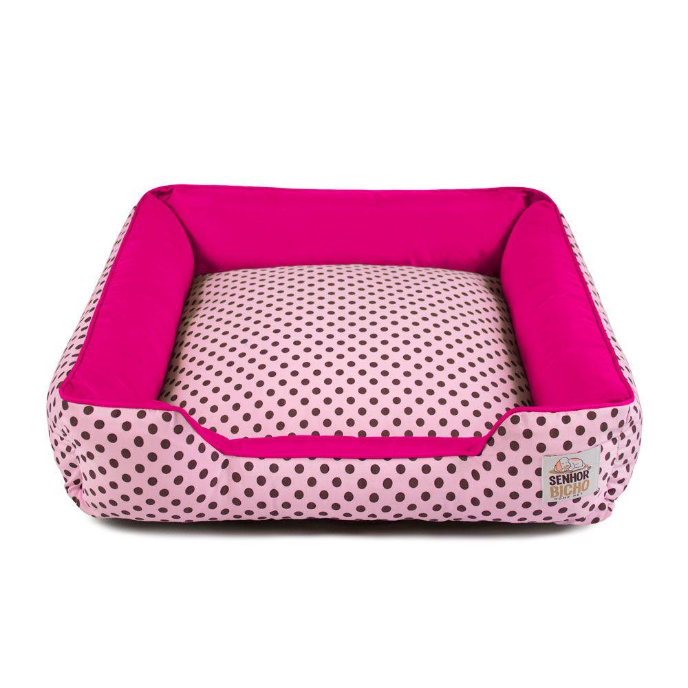 Cama de Cachorro com Zíper Pandora - GG - Rosa Poá Pink