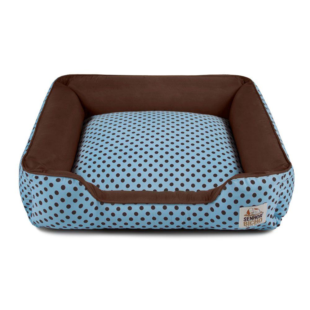 Cama de Cachorro com Zíper Pandora - M - Azul Poá Marrom