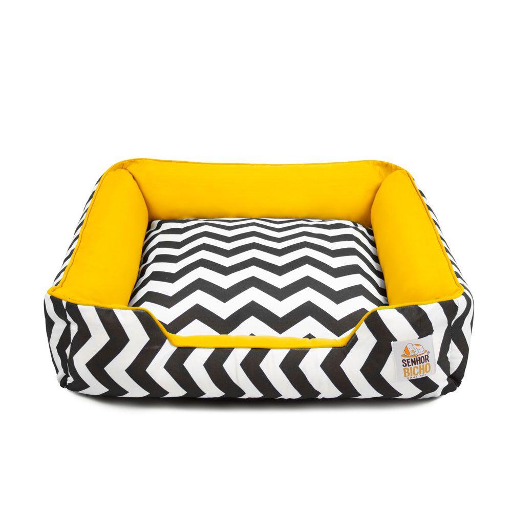 Cama de Cachorro com Zíper Pandora - M - Chevron Amarelo