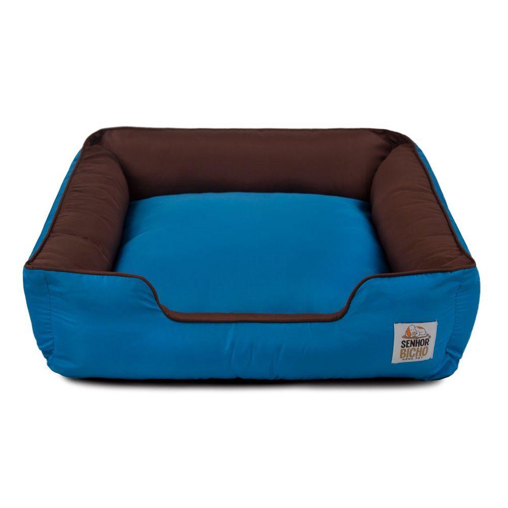 Cama de Cachorro com Zíper Pandora - M - Marrom Azul