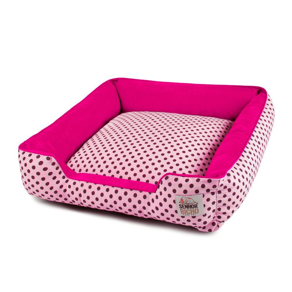 Cama de Cachorro com Zíper Pandora - M - Rosa Poá Pink