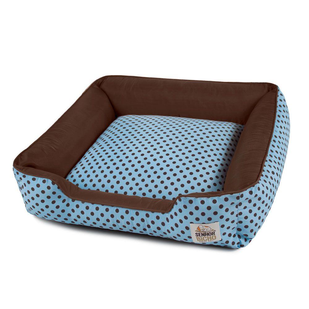 Cama de Cachorro com Zíper Pandora - P - Azul Poá Marrom