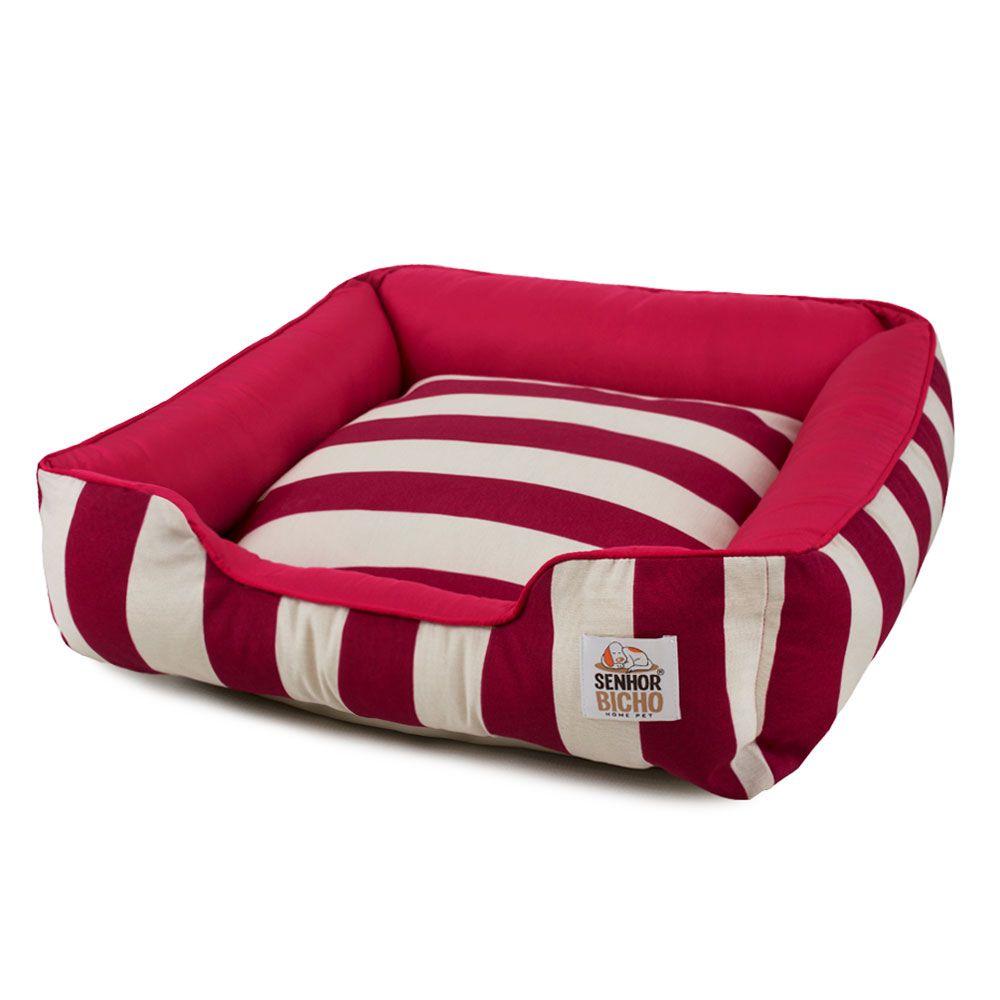 Cama de Cachorro com Zíper Pandora - P - Listras Vermelho
